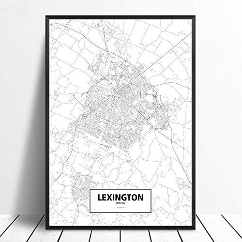Cuadro En Lienzo,Lexington City Mapa Impresión Moderno Minimalista Negro Y Blanco Sin...