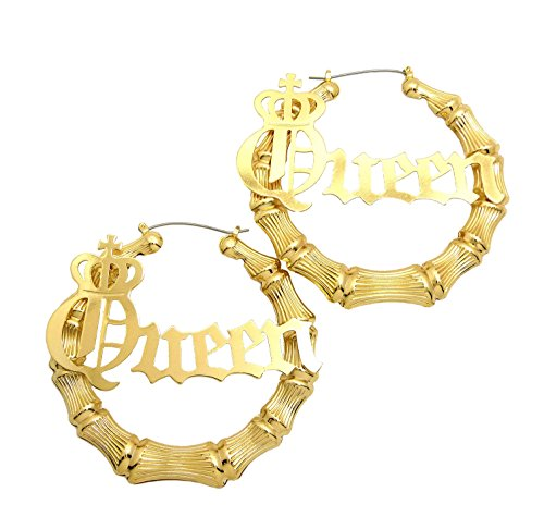 SASSY, SEXY, BOSS, MOB, QUEEN Word Statement Bamboo Style 3.0' Pincatch Hoop Earring in Gold Tone (QUEEN)