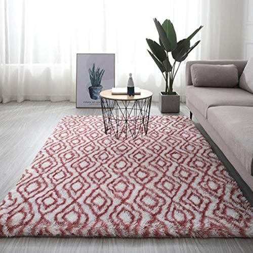 SDAFSA Sofa Mattegrauer Teppich Tie Dye Plüsch Weiche Teppiche Für Wohnzimmer Schlafzimmer rutschfeste Fußmatten Schlafzimmer Wasseraufnahme Teppich Teppiche-Wein-Weiß_120X200Cm