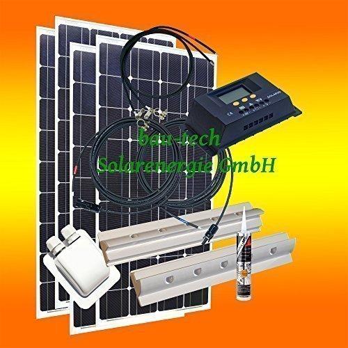 bau-tech Solarenergie 400 Watt Wohnmobil Camping Solaranlage, 12 Volt Set, PV Solarpanel Modul GmbH