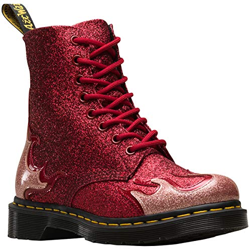 Dr. Martens Women's 1460 Pascal Flame Coated Glitter Lace Up Boot Red-Red-3 Size 3