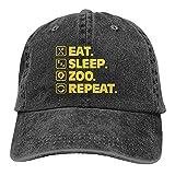 Dyfcnaiehrgrf Zookeeper Eat Sleep Zoo Repeat Sombreros para hombres y mujeres Vintage Gorra de béisbol Beach Dad Sun Hat Negro