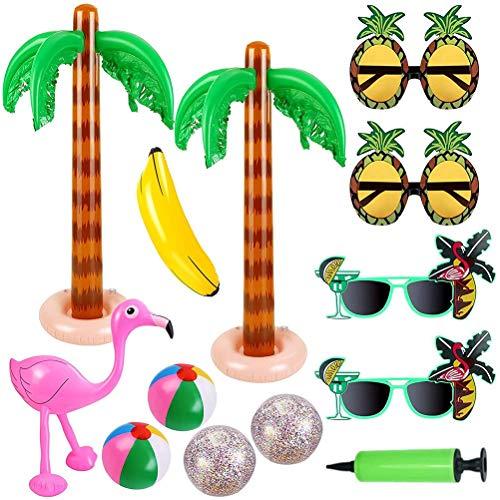 XYSHZXC 13 pcs Juguetes Inflables, Inflables Palmeras Flamingo Juguetes Inflables Banana Bolas de Playa para la Decoración del Partido Playa Decoración del Partido de Luau