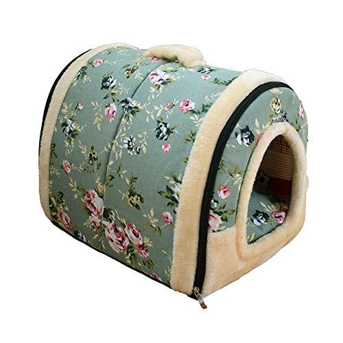 BIGBIGWORLD Haustier 2 in 1 Bett & Sofa, Tragbar Katzenbett Hundebett Hundehütte Katzenhöhlen Hundehöhle für Hunde Katzen Hasen Haustier mit Ablösbar Kissen,Blumen,L