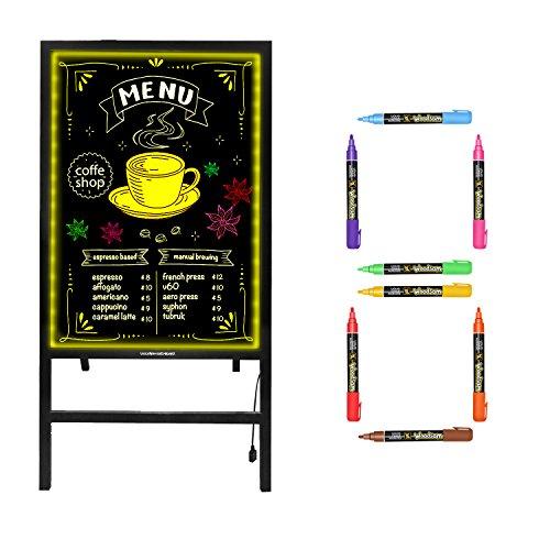 """Hosim 32/"""" x 24/"""" Clignotant Illuminated effa/çable Neon LED Message Writing Board Restaurant menu Sign 7 couleurs de RGB 28 Clignotant de contr/ôle /à distance"""