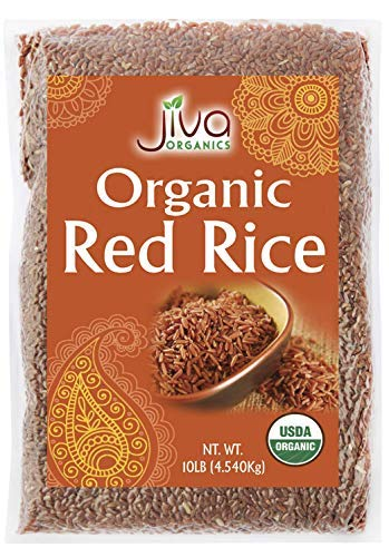 Jiva Organics Organic Red Rice 10 Pounds Bulk Bag from India - 100% Natural & Non-GMO (Pack of 4)
