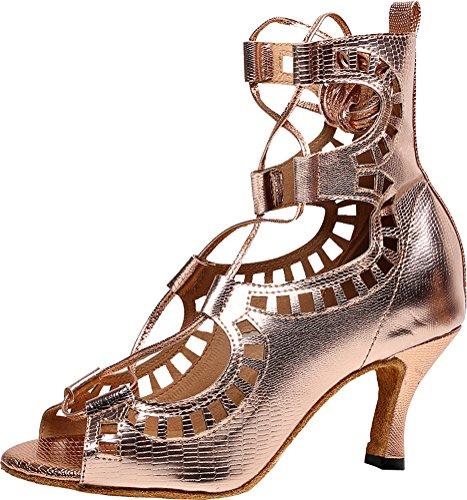 Chaussures de danse pour femme avec bout ouvert, sangle de cheville et semelle souple en polyuréthane - Or - doré, 40 EU