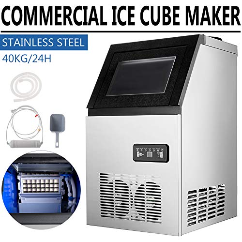 SHZOND Commercial Ice Maker 88LBS/24H Stainless Steel Commercial Ice Machine Auto Clean 22LBS Storage 3x8 Cubes with Water Filter, Scoop, Connection Hose for Restaurant, Bar, Coffee Shop (88LBS/24H)