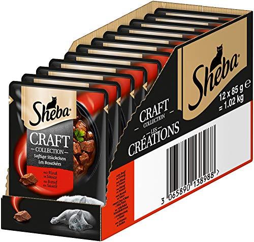 Sheba Craft Collection – Edles Nassfutter für Katzen – Saftige Stückchen mit Rindfleisch und Sauce – 12 Portionsbeutel à 85g
