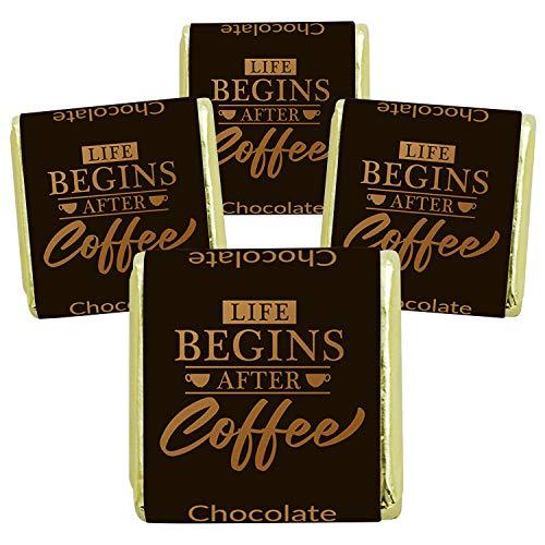 135 Stück Schokoladen-Nougat-Tafeln Cafe Motive, mit Nougat-Füllung, Süßigkeiten Box, Gastgeschenke, zum Kaffee, als Tischdeko, Mini Geschenke in Confiserie Qualität (LIFE BEGINS AFTER COFFEE)