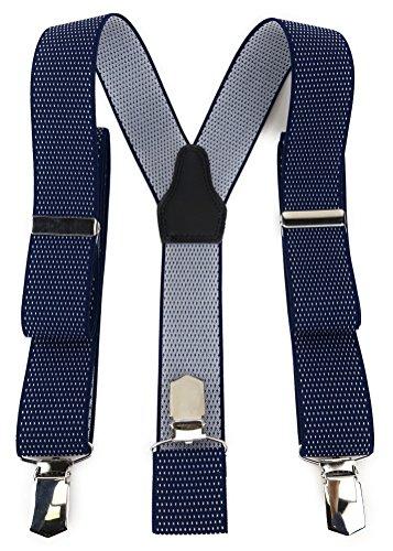 TigerTie Unisex Hosenträger in Y-Form mit 3 extra starken Clips - Farbe in dunkelblau marine weiß gepunktet - hochwertige Verarbeitung - Breite 35 mm