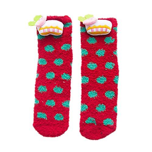 BESTOYARD Chaussettes de Noël résistantes au dérapage en Laine Polaire coréenne Chaussettes Chaussettes pour Femme, Fille (Motif Femme Adulte Rouge, Taille Libre)