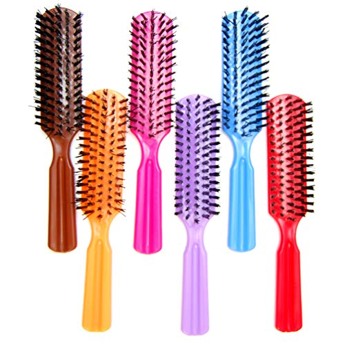 "Luxxii (Pack 6) 7.5"" Plastic Colorful Handle Nylon Bristles Brushes Hair Comb Designed for All Hair Types (Assort Color)"