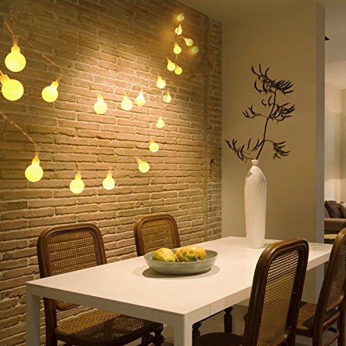 Denknova 10 Metri 100 LED Palla Luci Della Stringa, Decorative Catena Luminosa, DC 31V Bassa tensione, funzione di memoria, Bianca Calda