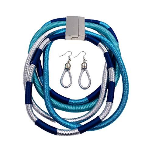 Juego de collar y pendientes para mujer, multicapa, trenzado, collar y pendientes con forma de lágrima, color azul