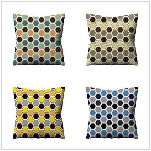 ZYFSKR Cotton Linen Pillow Covers Sofa Cushion Covers Garden Seat Cushions Geometric Cushion Cover For Sofa Living Room Bookstore Home Decorative 4 Pcs 45X45Cm