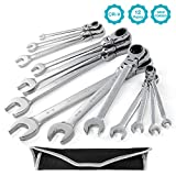 GEARDRIVE 13-piece Flex-Head Ratcheting Wrench Set - SAE Combination Wrench Set...