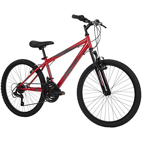 Huffy Hardtail Mountain Bike, Stone Mountain 24-26 inch 21-Speed, Lightweight, Gloss Red (74808)
