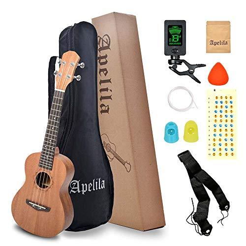 Apelila 23' Concert Ukulele,Mahogany Acoustic Mini Guitar Musical Instrument with Tuner,Bag, Pick, Nylon Strings, for Beginner, Kid, Starter, Amateur (Natural)
