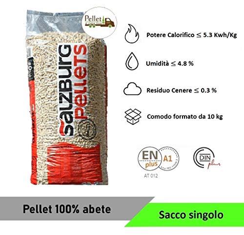 PELLET SALZBURG 100% ABETE AUSTRIACO - ENPLUS A1 - ALTO POTERE CALORIFICO (PRODOTTO CAMPIONARIO SOLO VENDITA DI 1 SACCO da 10 kg)