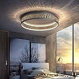 44W LED Deckenleuchte Dimmbar mit Fernbedienung Wohnzimmer Deckenlampe, Kreativ Rund Schwarz Gold Aushöhlen Design Schlafzimmer Lampe, Acryl Schirm Arbeitszimmer Deko Licht, Flurlampe aus Eisen, Ø42cm