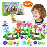 Flanney Flower Garden Building Toys, 147Pcs Vibrant Colors DIY Floral Bouquet Arrangement, Assembly Garden Playset, Creative Educational Toy Gift for 3, 4, 5, 6 Year Old Girl (with Storage Bag)