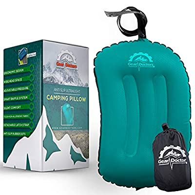 Gear Doctors Anti-Slip Ultralight Inflatable Camping Pillow -Ergonomic Design for Maximum Neck and Back Support - Compact and Comfortable Perfect for Camping Hiking (Teal Camping Pillow)