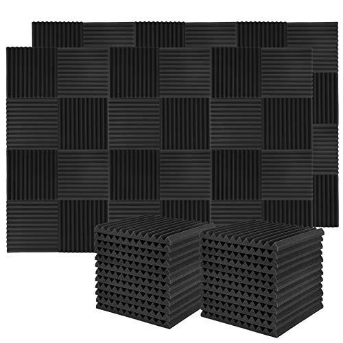 Donner Panneaux de Mousse Acoustique, Panneau Absorbant Acoustique 50 pièces Bouclier Acoustique Mousse anti bruit avec Autocollants pour studio d'enregistrement, 30x30x2,5cm