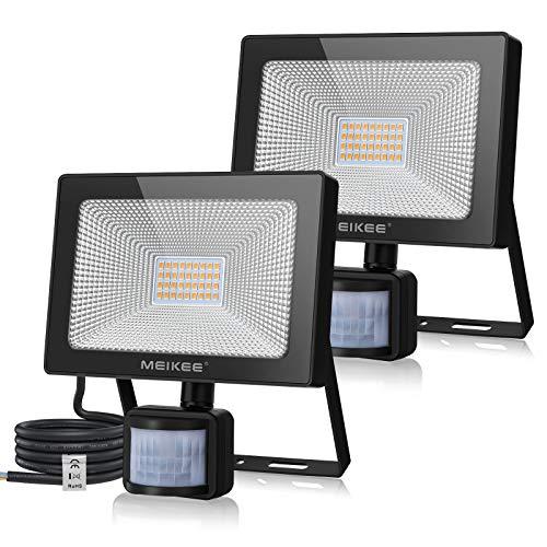 MEIKEE, faretto a LED da 30 W, con sensore di movimento, 2 pezzi, super luminoso, 3000 lm, IP66, impermeabile, 3000 K, luce bianca calda, per cortile, garage, giardino