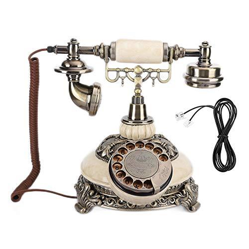 YUN Teléfono Fijo De Bronce Antiguo con Dial Giratorio, Llamada De Escritorio para El Hotel De La Oficina En Casa