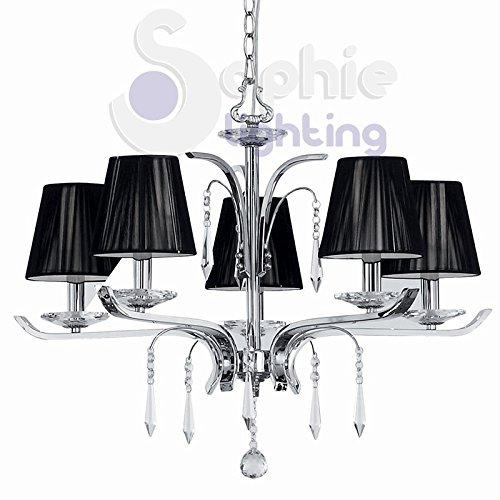 Sophie Lighting Suspension 5 lumières moderne design abat-jour noir acier chromé cristaux pendants ACCA SP5
