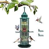 Bird Feeder for Outside, Hanging Bird Feeder Metal Waterproof, Wild Bird Feeders w/4 Feeding Ports, 1.5 lbs Seed Capacity, for Outdoors Garden Yard Decoration, by COOKSIST