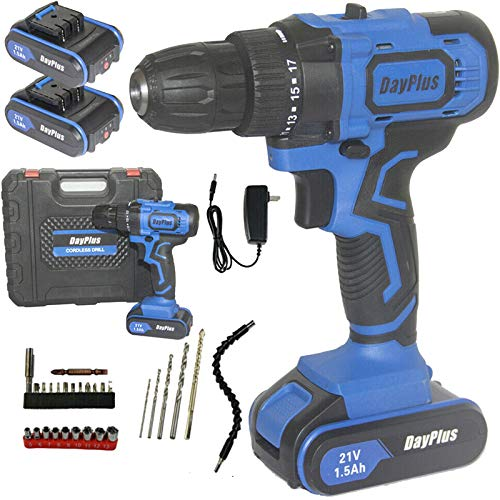 21V Cordless Drill Driver Kit Blue 2 Lithium-Ion Batteries with 2 Speeds, 18+1 Position Clutch, 29Pcs Accessory Tools, Compact Combi DIY Hammer Action Power Tool, Light Weight Protable Drill Kit