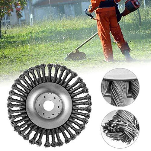 Cabezal Cortador de césped, 25,4x150mm Rueda de Alambre Cepillo de Acero Hierba, Bandeja de desmalezado para cortacésped de Metal para Accesorio de desbrozadora