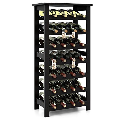 Homfa Bamboo Wine Rack, 7 Tier Free Standing Wine Storage Rack Display Shelves 28 Bottles Capacity Storage Standing Table, Wobble Free for Home Kitchen, Dark Brown