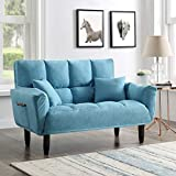 Convertible Futon Sofa Bed with 2 Pillows, Twin Size Sleeper Sofa Futon Couch, Recliner Couch with Adjustable Armrest and Rubber Legs, Living Room Sofa with 3-Angle Backrest for Small Space (Blue)
