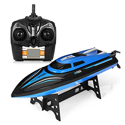 Remote Control RC Boat,GBlife 2.4GHz High Speed,180° Flipping Transmitter with LCD Screen Electric Racing Boat for Pools and Lakes(Blue)