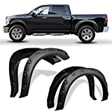 LEDKINGDOMUS Fender Flares Kit Compatible for 2009-2018 Dodge 2019-2021 Ram 1500 Classic (Exclude R/T Models), Textured Matte Black Finish Front Rear Wheels Pocket Rivet Style