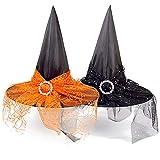 Sombrero de Bruja,Diadema de Bruja Halloween 2PCS Bruja de Halloween Hairband de Disfraces para Niñas y Mujeres Decoración de Fiesta de Disfraces de Halloween Cabello