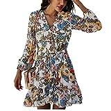 Vestido Estampado De Primavera para Mujer Vestido Informal De Manga Larga con Cordones De Cintura Alta Vestido Floral para Mujer Vestido De Gasa De Verano