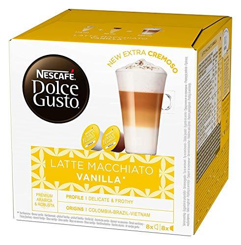 NESCAFÉ Dolce Gusto Latte Macchiato Vanilla, 16 Kaffeekapseln, feines Vanille Aroma und leckerer Milchschaum, Arabica Robusta Mischung, aromaversiegelte Kapseln, 1er Pack (1 x 16 Kapseln)