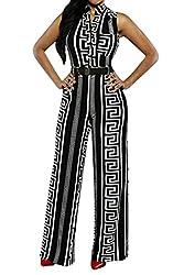 Pink Queen Womens Jumpsuits Elegant Button Loose Long Wide Leg Jumpsuits Romper
