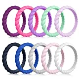 MOKANI Silicone Wedding Ring for Women, 10-Pack Thin and Braided Rubber Band, Fashion, Colorful, Comfortable fit, Skin Safe, Size 7