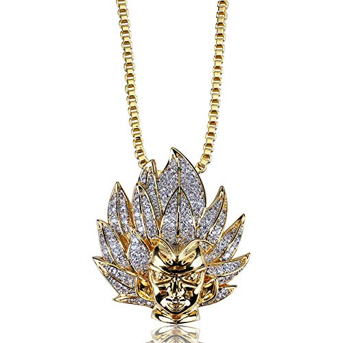 MoCa Jewelry - Collar con colgante chapado en oro de 18 quilates con circonitas cúbicas brillantes para hombre y mujer
