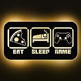 Elbeffekt Eat Sleep Zocken Schild aus Holz- personalisierbares Geschenk - Zimmer Deko - Türschild - personalisierbar zum Hinstellen/Aufhängen - Gaming Deko - persönliches Geschenk