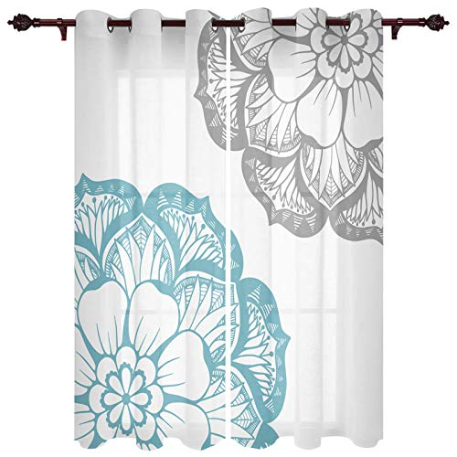 Grommet Window Curtain Dahlia Flower Floral Abstract Large Petals Image Print Window Curtains Draperies for Bedroom and Living Room 40 x 63 Inch, Set of 2 Panels