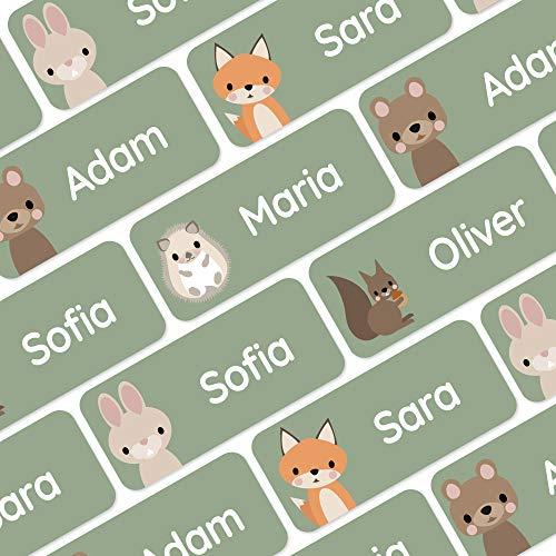 120 Namensaufkleber für Kleidung und andere Dinge - Waldtiere - Grün