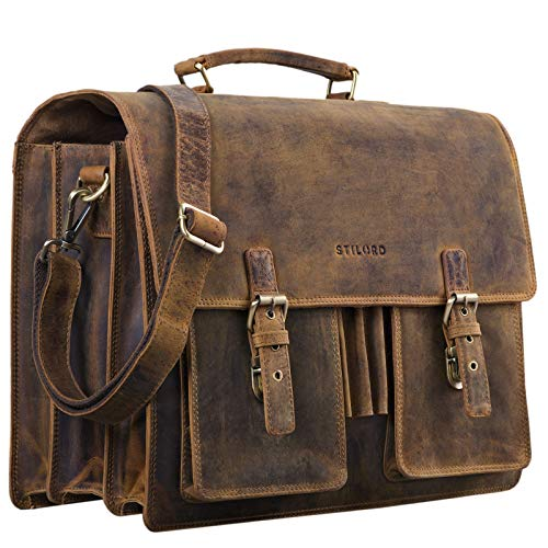 STILORD \'Anton\' Aktentasche Leder XL Vintage Lehrertasche mit Laptopfach 15,6 Zoll große Ledertasche zum Umhängen Trolley aufsteckbar, Farbe:mittel - braun