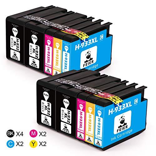 feier - 932XL 933XL Recambio cartuchos de tinta HP 932 933 932 XL 933 XL compatibles con impresoras HP Officejet 7110 7612 75106700 66006100 y 7610,4 Negro 2 Cian 2 Magenta 2 Amarillo