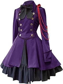 XUEJIN Women Lolita Gothic Dress Vintage Cross Embroidery Long Sleeve Princess Dress